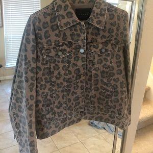 Blank NYC leopard denim jacket